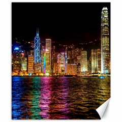 Light Water Cityscapes Night Multicolor Hong Kong Nightlights Canvas 8  X 10