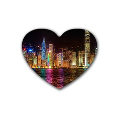 Light Water Cityscapes Night Multicolor Hong Kong Nightlights Rubber Coaster (Heart)