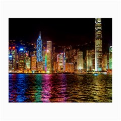 Light Water Cityscapes Night Multicolor Hong Kong Nightlights Small Glasses Cloth (2-Side)