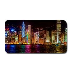 Light Water Cityscapes Night Multicolor Hong Kong Nightlights Medium Bar Mats