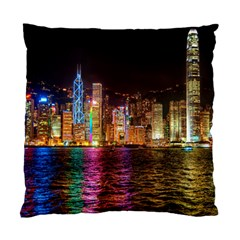 Light Water Cityscapes Night Multicolor Hong Kong Nightlights Standard Cushion Case (one Side)
