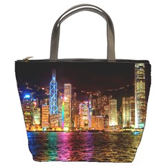 Light Water Cityscapes Night Multicolor Hong Kong Nightlights Bucket Bags