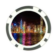 Light Water Cityscapes Night Multicolor Hong Kong Nightlights Poker Chip Card Guard (10 pack)
