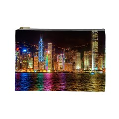 Light Water Cityscapes Night Multicolor Hong Kong Nightlights Cosmetic Bag (Large)