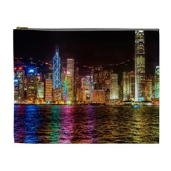 Light Water Cityscapes Night Multicolor Hong Kong Nightlights Cosmetic Bag (XL)