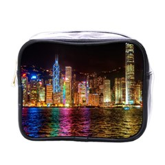 Light Water Cityscapes Night Multicolor Hong Kong Nightlights Mini Toiletries Bags