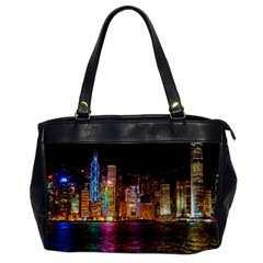 Light Water Cityscapes Night Multicolor Hong Kong Nightlights Office Handbags