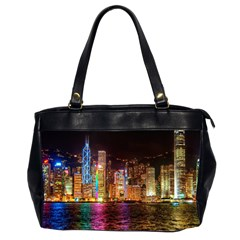 Light Water Cityscapes Night Multicolor Hong Kong Nightlights Office Handbags (2 Sides)