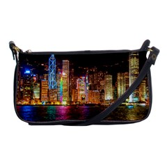 Light Water Cityscapes Night Multicolor Hong Kong Nightlights Shoulder Clutch Bags