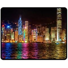 Light Water Cityscapes Night Multicolor Hong Kong Nightlights Fleece Blanket (Medium)