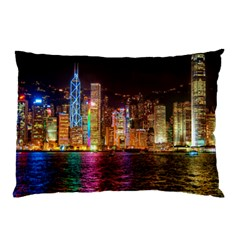 Light Water Cityscapes Night Multicolor Hong Kong Nightlights Pillow Case (Two Sides)