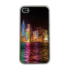 Light Water Cityscapes Night Multicolor Hong Kong Nightlights Apple iPhone 4 Case (Clear)