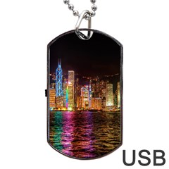 Light Water Cityscapes Night Multicolor Hong Kong Nightlights Dog Tag Usb Flash (one Side)