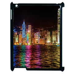Light Water Cityscapes Night Multicolor Hong Kong Nightlights Apple iPad 2 Case (Black)