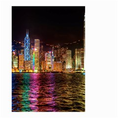 Light Water Cityscapes Night Multicolor Hong Kong Nightlights Small Garden Flag (two Sides)