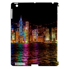 Light Water Cityscapes Night Multicolor Hong Kong Nightlights Apple iPad 3/4 Hardshell Case (Compatible with Smart Cover)