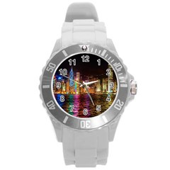 Light Water Cityscapes Night Multicolor Hong Kong Nightlights Round Plastic Sport Watch (L)