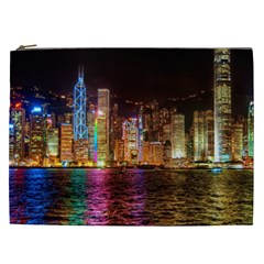 Light Water Cityscapes Night Multicolor Hong Kong Nightlights Cosmetic Bag (xxl)