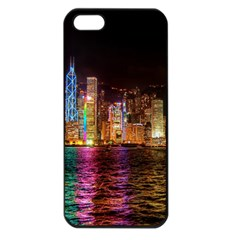 Light Water Cityscapes Night Multicolor Hong Kong Nightlights Apple Iphone 5 Seamless Case (black)