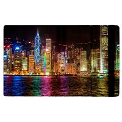 Light Water Cityscapes Night Multicolor Hong Kong Nightlights Apple Ipad 2 Flip Case