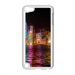 Light Water Cityscapes Night Multicolor Hong Kong Nightlights Apple iPod Touch 5 Case (White)