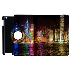 Light Water Cityscapes Night Multicolor Hong Kong Nightlights Apple iPad 2 Flip 360 Case