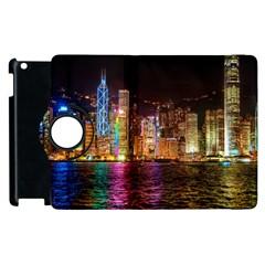 Light Water Cityscapes Night Multicolor Hong Kong Nightlights Apple iPad 3/4 Flip 360 Case