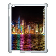 Light Water Cityscapes Night Multicolor Hong Kong Nightlights Apple iPad 3/4 Case (White)