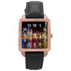 Light Water Cityscapes Night Multicolor Hong Kong Nightlights Rose Gold Leather Watch