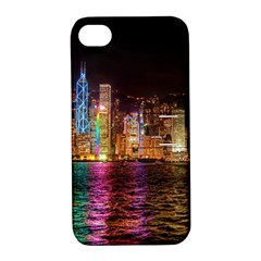 Light Water Cityscapes Night Multicolor Hong Kong Nightlights Apple Iphone 4/4s Hardshell Case With Stand
