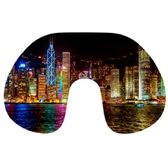 Light Water Cityscapes Night Multicolor Hong Kong Nightlights Travel Neck Pillows