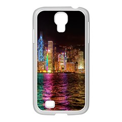 Light Water Cityscapes Night Multicolor Hong Kong Nightlights Samsung GALAXY S4 I9500/ I9505 Case (White)