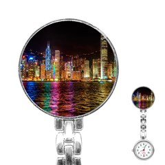 Light Water Cityscapes Night Multicolor Hong Kong Nightlights Stainless Steel Nurses Watch