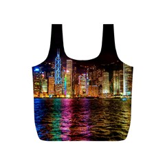 Light Water Cityscapes Night Multicolor Hong Kong Nightlights Full Print Recycle Bags (S)