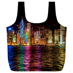 Light Water Cityscapes Night Multicolor Hong Kong Nightlights Full Print Recycle Bags (l)