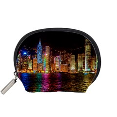 Light Water Cityscapes Night Multicolor Hong Kong Nightlights Accessory Pouches (small)