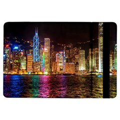Light Water Cityscapes Night Multicolor Hong Kong Nightlights Ipad Air Flip