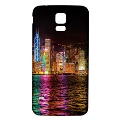 Light Water Cityscapes Night Multicolor Hong Kong Nightlights Samsung Galaxy S5 Back Case (White)