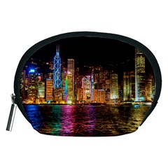 Light Water Cityscapes Night Multicolor Hong Kong Nightlights Accessory Pouches (medium)