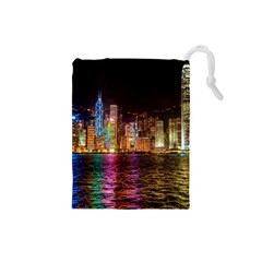 Light Water Cityscapes Night Multicolor Hong Kong Nightlights Drawstring Pouches (Small)