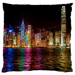 Light Water Cityscapes Night Multicolor Hong Kong Nightlights Large Flano Cushion Case (One Side)