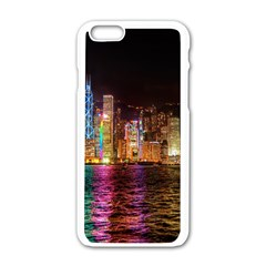 Light Water Cityscapes Night Multicolor Hong Kong Nightlights Apple iPhone 6/6S White Enamel Case