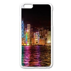 Light Water Cityscapes Night Multicolor Hong Kong Nightlights Apple iPhone 6 Plus/6S Plus Enamel White Case