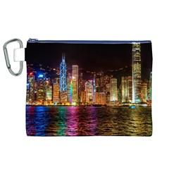 Light Water Cityscapes Night Multicolor Hong Kong Nightlights Canvas Cosmetic Bag (XL)