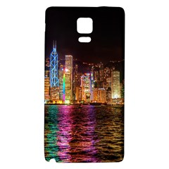 Light Water Cityscapes Night Multicolor Hong Kong Nightlights Galaxy Note 4 Back Case