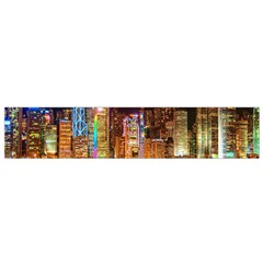 Light Water Cityscapes Night Multicolor Hong Kong Nightlights Flano Scarf (Small)
