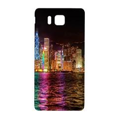 Light Water Cityscapes Night Multicolor Hong Kong Nightlights Samsung Galaxy Alpha Hardshell Back Case