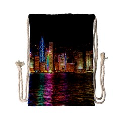 Light Water Cityscapes Night Multicolor Hong Kong Nightlights Drawstring Bag (Small)