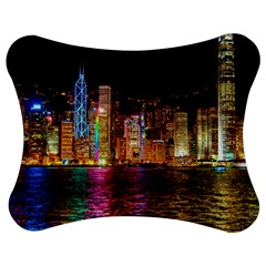 Light Water Cityscapes Night Multicolor Hong Kong Nightlights Jigsaw Puzzle Photo Stand (Bow)