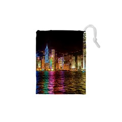 Light Water Cityscapes Night Multicolor Hong Kong Nightlights Drawstring Pouches (XS)